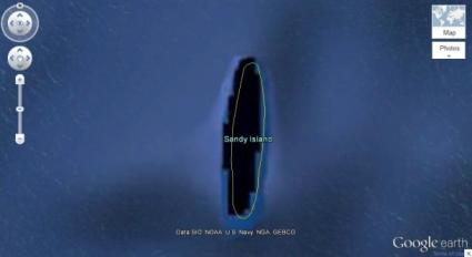 Sandy Island lies between Australia and New Caledonia, according to Google Earth. Reality is different.(Credit: Google Earth)