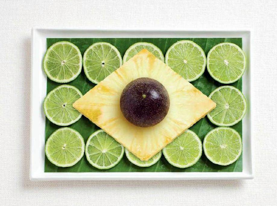 BRAZIL – Bana leaf, limes, pineapple, passion fruit