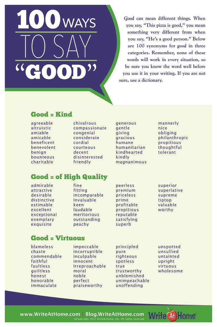 """Fun with words: 100 ways to say """"good"""""""